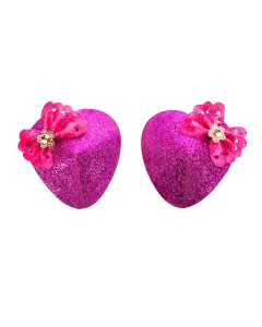 Glittery Heart Nipple Pasties With Bows