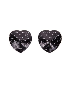 Rhinestone Heart Black Nipple Pasties