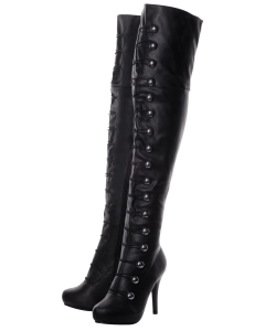 Playgirl Over The Knee Black Matt Button Detail Boots