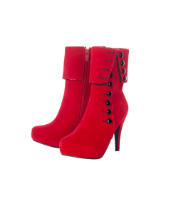 Playgirl Red Suede Button Detail Ankle Boots
