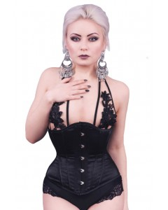 Black Satin Steel Boned Corset