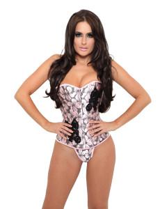 Pink Floral Fashion Corset With Black Lace Applique