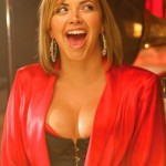 Charlotte Church In A Over The Bust Black Satin Corset