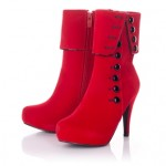Red Boots With Black Buttons