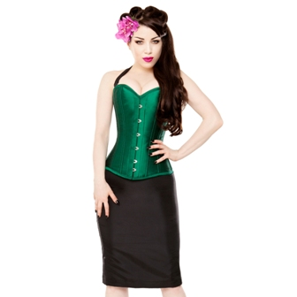 Green Corset & Black Pencil Skirt